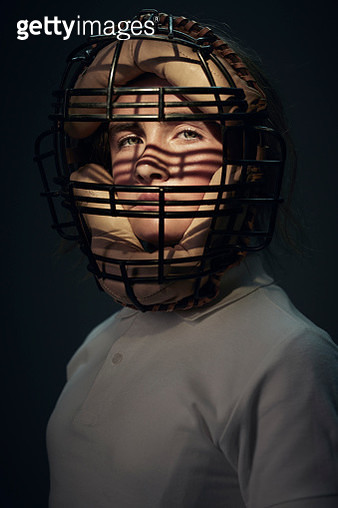 Portrait of girl wearing vintage baseball mask - gettyimageskorea