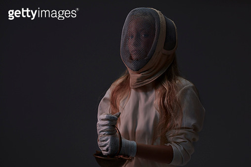 Portrait of young fencer wearing mask - gettyimageskorea