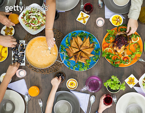 Table of enjoying food with family and friends top view - gettyimageskorea