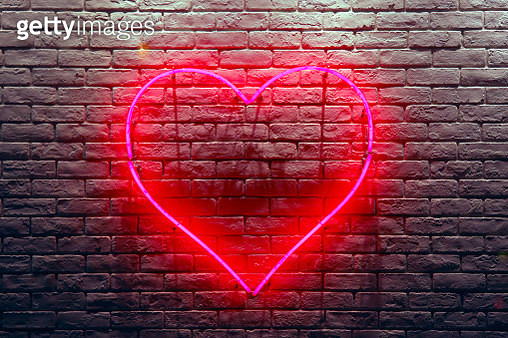 Red Heart Neon Light - gettyimageskorea
