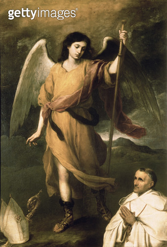<b>Title</b> : Archangel Raphael with Bishop Domonte (oil on canvas)<br><b>Medium</b> : oil on canvas<br><b>Location</b> : Pushkin Museum, Moscow, Russia<br> - gettyimageskorea