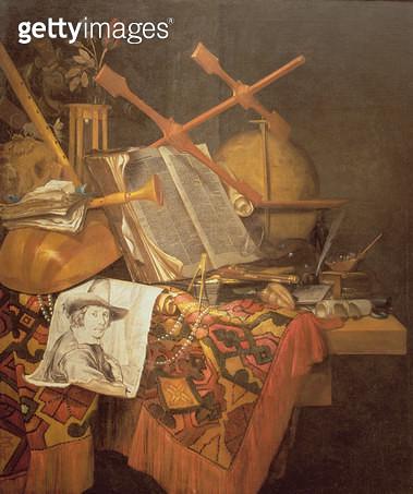<b>Title</b> : Vanitas (oil on canvas)<br><b>Medium</b> : oil on canvas<br><b>Location</b> : Frans Hals Museum, Haarlem, The Netherlands<br> - gettyimageskorea