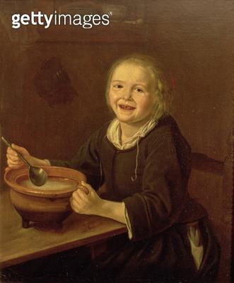 <b>Title</b> : Boy eating Porridge (oil on canvas)<br><b>Medium</b> : <br><b>Location</b> : Frans Hals Museum, Haarlem, The Netherlands<br> - gettyimageskorea