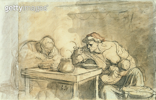 <b>Title</b> : The Soup, c.1862-65 (pen & ink, w/c and pencil on paper)<br><b>Medium</b> : pen and ink, watercolour and pencil on paper<br><b>Location</b> : Louvre, Paris, France<br> - gettyimageskorea