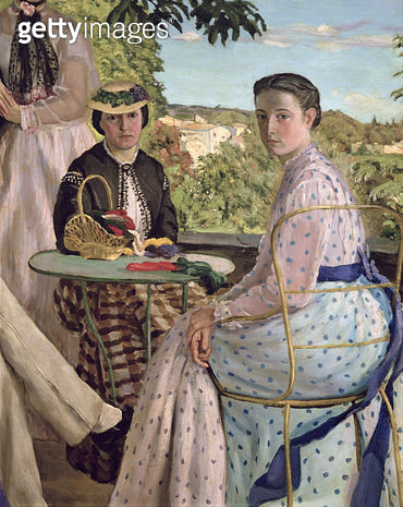 <b>Title</b> : Family Reunion, detail of two women, 1867 (oil on canvas)<br><b>Medium</b> : oil on canvas<br><b>Location</b> : Musee d'Orsay, Paris, France<br> - gettyimageskorea