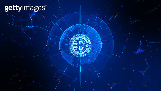 Bitcoin Cryptocurrency In Digital Cyberspace. Technology Network Money Exchange. - gettyimageskorea