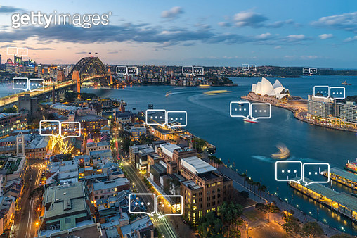 Blank space for text on Sydney city and bubble chat for communication. Technology and communication concept. Internet of things - gettyimageskorea