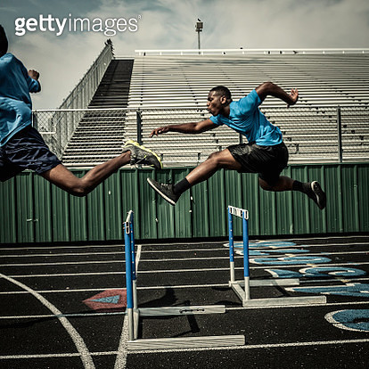 Young hurdle runners compete at the high scool race (IV) - gettyimageskorea