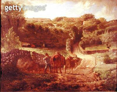 <b>Title</b> : The Cousin Hamlet at Greville, c.1865-73 (oil on canvas)Additional InfoLe Hameau Cousin a Greville;<br><b>Medium</b> : oil on canvas<br><b>Location</b> : Musee Saint-Denis, Reims, France<br> - gettyimageskorea