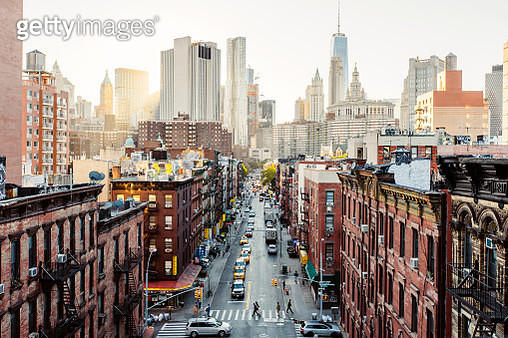 High angle view of Lower East Side Manhattan Downtown, New York City, USA - gettyimageskorea