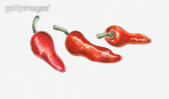 Illustration of three red pimento peppers - gettyimageskorea