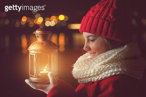 Beautiful Little Girl With Lantern Outside - gettyimageskorea