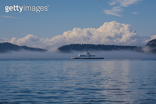 The Islands And Sea-Going Ferry Are Covered In Fog - gettyimageskorea