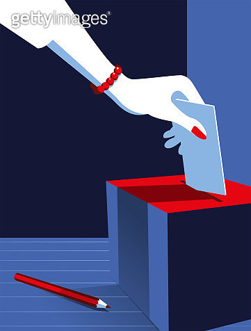 Simple Illustration Woman Voting at the Ballot Box - gettyimageskorea