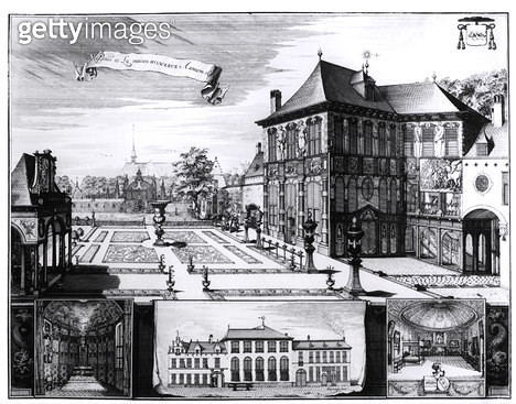 <b>Title</b> : View of the Hilwerue House belonging to Peter Paul Rubens (1577-1640) 1692 (engraving) (b/w photo)<br><b>Medium</b> : engraving<br><b>Location</b> : Private Collection<br> - gettyimageskorea