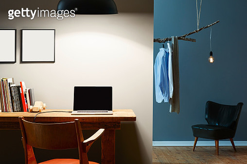 Laptop Against Wall On Table - gettyimageskorea