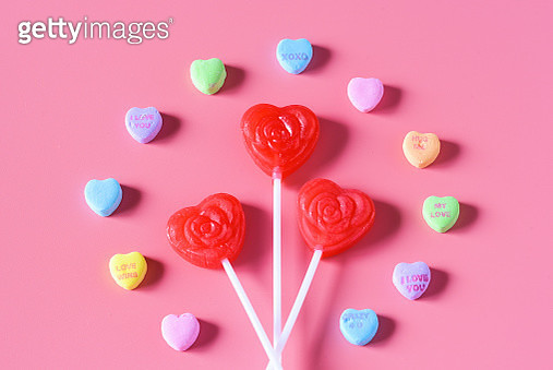 Lollipops and candy hearts - gettyimageskorea