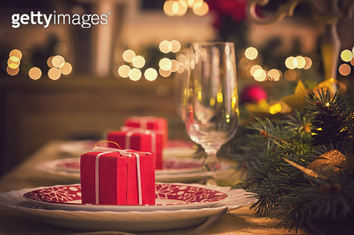 Festive Place Setting with Christmas Decorations - gettyimageskorea