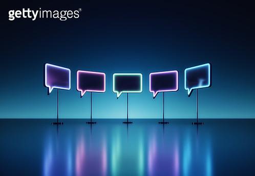 Neon speech bubbles - gettyimageskorea
