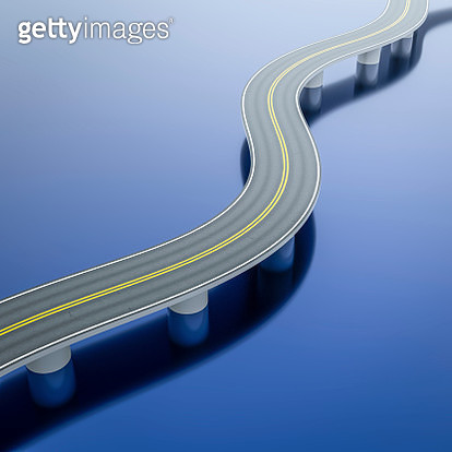 High Angle View Of Bridge Over Blue Background - gettyimageskorea