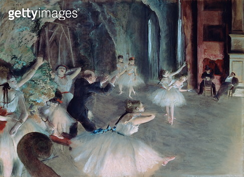 The Rehearsal of the Ballet on Stage, c.1878-79 (pastel on paper)<br>The Rehearsal of the Ballet on Stage, c.1878-79 - gettyimageskorea