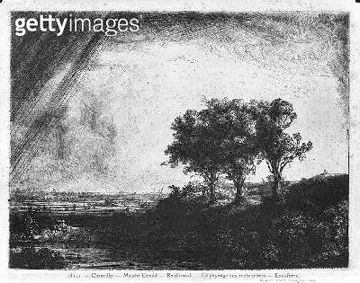 Landscape with Three Trees (etching) (b/w photo) - gettyimageskorea