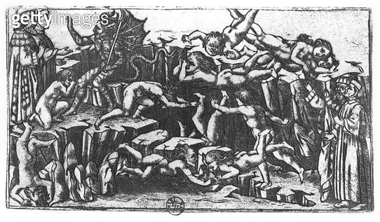 <b>Title</b> : Hell, from 'The Divine Comedy' by Dante Alighieri (1265-1321) (engraving) (b/w photo)<br><b>Medium</b> : engraving<br><b>Location</b> : Bibliotheque Nationale, Paris, France<br> - gettyimageskorea