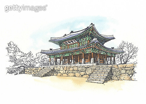 서울 남한산성, 세계문화유산, 펜화 - gettyimageskorea