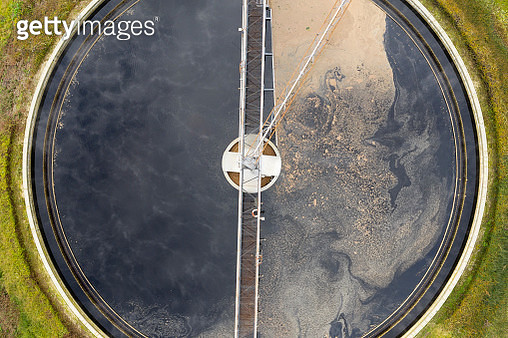 Clarifier at wastewater treatment plant, aerial view - gettyimageskorea