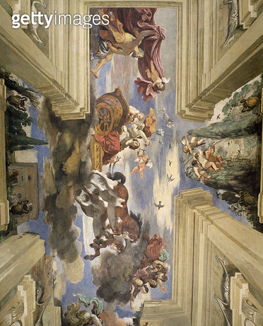 <b>Title</b> : The 'Sala di Aurora' (Hall of the Dawn) detail of the ceiling depicting Dawn's chariot, 1621 (tempera on panel)<br><b>Medium</b> : <br><b>Location</b> : Casino dell'Aurora Ludovisi, Rome, Italy<br> - gettyimageskorea