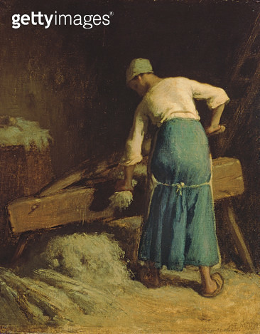 <b>Title</b> : Breaking Flax, c.1850-51 (oil on canvas)<br><b>Medium</b> : oil on canvas<br><b>Location</b> : Walters Art Museum, Baltimore, USA<br> - gettyimageskorea
