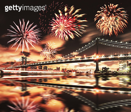 new york city skyline at night with fireworks - gettyimageskorea