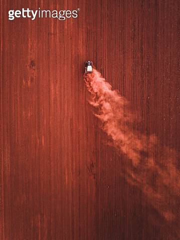Tractor in an agricultural field photographed from above, Queensland, Australia - gettyimageskorea