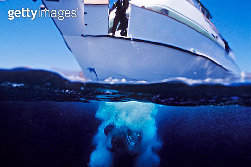 Diver enters the water from the bow of the Conception, Truth Aquatics - gettyimageskorea