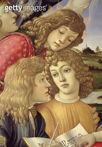 <b>Title</b> : The Madonna of the Magnificat, detail of three boys, 1482 (tempera on panel) (detail of 9614)<br><b>Medium</b> : <br><b>Location</b> : Galleria degli Uffizi, Florence, Italy<br> - gettyimageskorea