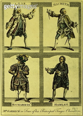 Garrick, David (1717-79): Four Tragic Roles (engraving) - gettyimageskorea
