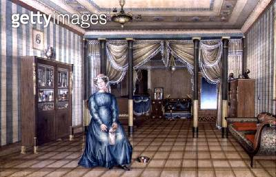 <b>Title</b> : A Spinster in a Neo-Classical Sitting Room Interior, c.1835 (w/c with heightening on paper)<br><b>Medium</b> : watercolour with heightening on paper<br><b>Location</b> : Private Collection<br> - gettyimageskorea