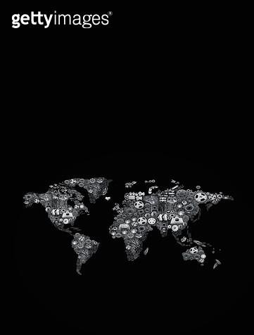 기계 부품으로 만든 세계지도 - gettyimageskorea