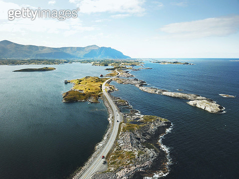 Atlantic road in Norway shot from air - gettyimageskorea