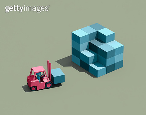 Forklift carrying crate - gettyimageskorea
