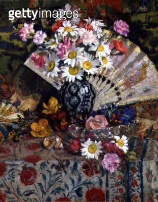 Still Life with a Fan (oil on canvas) - gettyimageskorea