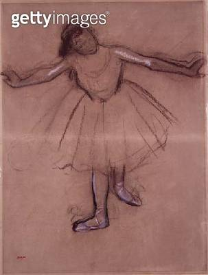 <b>Title</b> : Front-view of Dancer, c.1877 (charcoal and pastel on paper)<br><b>Medium</b> : charcoal and pastel on paper<br><b>Location</b> : Private Collection<br> - gettyimageskorea