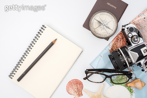 Outfit of traveler on wood background with copy space, Travel concept - gettyimageskorea