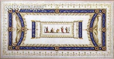 <b>Title</b> : Design for a Neo-Classical Ceiling (gouache, w/c, pen & ink and gold leaf on paper)<br><b>Medium</b> : gouache, watercolour, pen and ink and gold leaf on paper<br><b>Location</b> : Private Collection<br> - gettyimageskorea