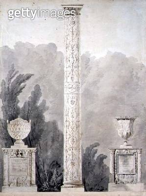 <b>Title</b> : Designs for Neo-Classical monuments, 1810 (pen & ink with w/c on paper)<br><b>Medium</b> : pen and ink with watercolour on paper<br><b>Location</b> : Private Collection<br> - gettyimageskorea