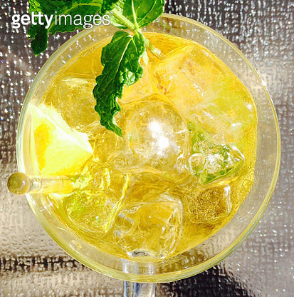 Iced tea infused with herbs closeup - directly above view - gettyimageskorea