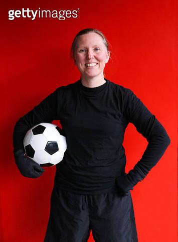 Portrait of confident female soccer player - gettyimageskorea