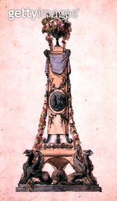 <b>Title</b> : Design for a Neo-Classical Centrepiece, c.1800 (w/c on paper)<br><b>Medium</b> : watercolour on paper<br><b>Location</b> : Private Collection<br> - gettyimageskorea
