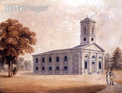 <b>Title</b> : View of a Neo-Classical Church in a Park, c.1790 (w/c on paper)<br><b>Medium</b> : watercolour on paper<br><b>Location</b> : Private Collection<br> - gettyimageskorea