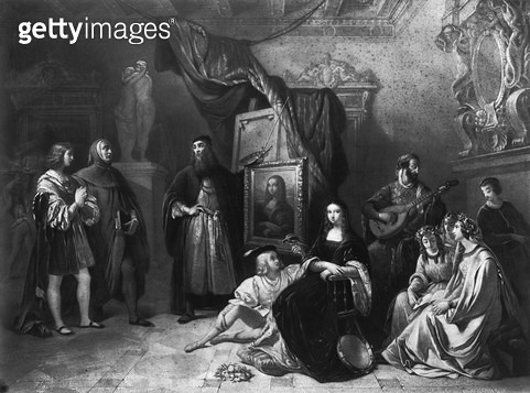 <b>Title</b> : Leonardo da Vinci (1452-1519) painting the Gioconda, engraved by Lemoine, 1845 (engraving) (b/w photo)<br><b>Medium</b> : engraving<br><b>Location</b> : Private Collection<br> - gettyimageskorea